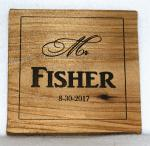 """Mr"" Name and Date Wedding Wooden Coaster"