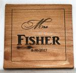 """Mrs"" Name and Date Wedding Wooden Coaster"