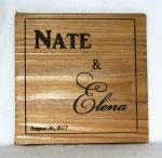 Names and Date Wedding Wooden Coaster